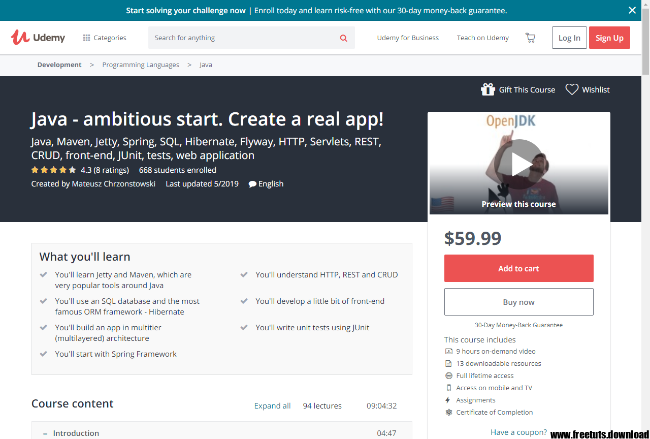 Java – ambitious start  Create a real app! Free Download